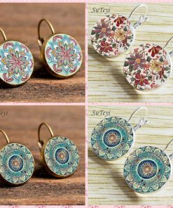 Time Gemstone Henna Glass Earrings Wholesale YFT-040