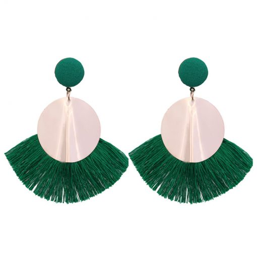 Europe and the United States big round metal color round tassel earrings retro exaggerated national wind earrings YLX-058
