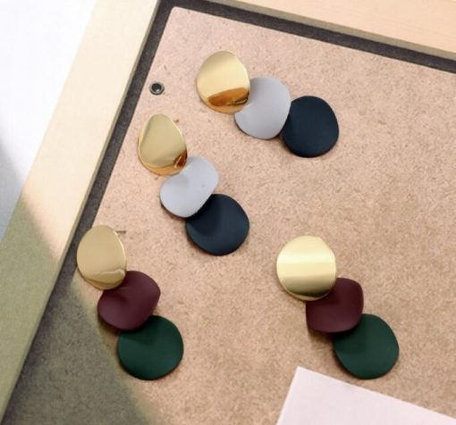 European and American temperament geometric bump color matching small round wind chime fashion earrings trend wild round earrings ylx-080