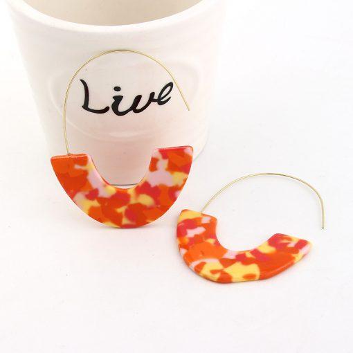 Women's European and American Earrings New Leopard Acrylic Acrylic Sheet U-shaped Earrings YLX-014
