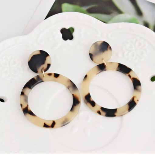 Hot sale exaggerated geometry acrylic acetate plate leopard woman earrings YLX-110