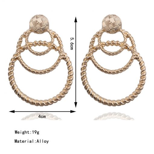New exaggerated circle earrings metal multi-layer round earrings Vintage fashion earrings YLX-105