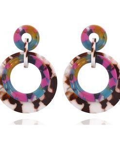 Europe and the United States hot round color granite pattern acetate plate earrings circle pendant women's earrings YLX-029