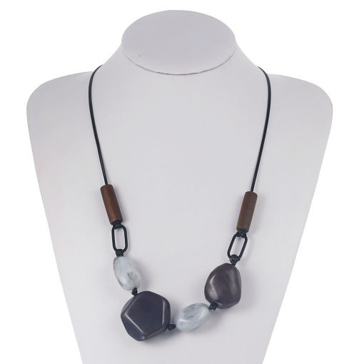 Cobblestone Sweater Chain Wax Adjustable Long Necklace New Fashion Jewelry YNR-019