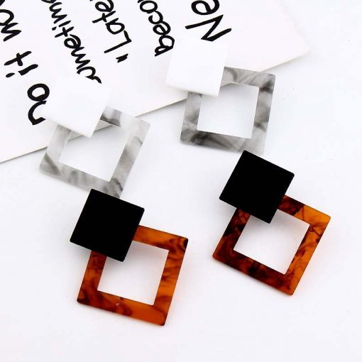 Factory direct Japanese Korean popular new exaggerated temperament geometry long acrylic large earrings YLX-076