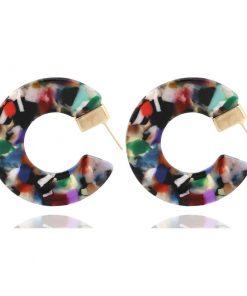 Factory direct leopard resin earrings acetate version semi-circular earrings earrings opening C-shaped earrings foreign trade earrings YLX-043