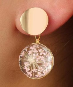 Small fresh glass ball starry earrings Korean version of temperament wild sequin petal earrings YLX-104
