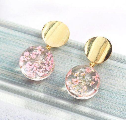 Small fresh glass ball starry earrings Korean version of temperament wild sequin petal earrings YLX-104