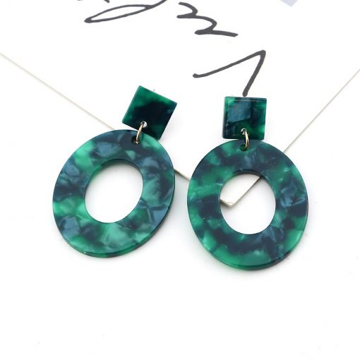 Europe and America Vintage Fashion Simple Acrylic Earrings Geometric Oval Pendant Stud Earrings YLX-077