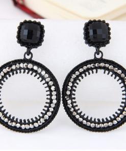 European and American fashion metal flash drill simple circle temperament earrings ylx-093