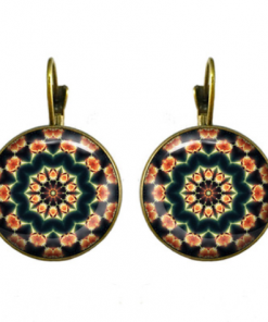 18mm Mandala Flower Retro Pop Time Gemstone Earrings YFT-099