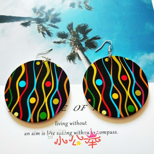 Influx of African personality simple retro wood printing round engraving geometric female earrings SZAX-162