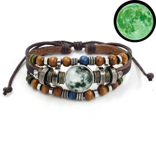 Time Gem Stars Night Light Bracelet Glass Jewelry DIY Button Bracelet Mixed BatchYFT-142