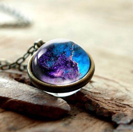 Time Gemstone Pendant Sweater Chain Universe Galaxy Starry Double-sided Glass Ball Jewelry Mixed Batch YFT-152