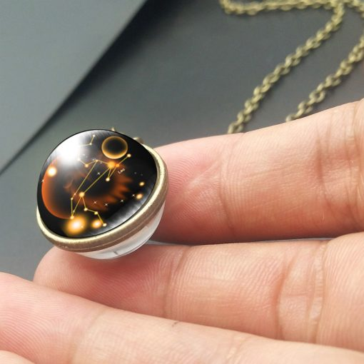 Hot new twelve constellation double-sided starry time gemstone necklace YFT-153