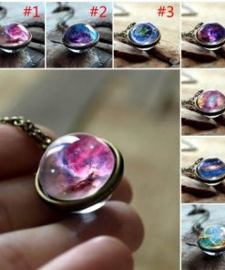 Time Gemstone Pendant Sweater Chain Universe Galaxy Starry Double-sided Glass Ball Jewelry Mixed Batch YFT-152