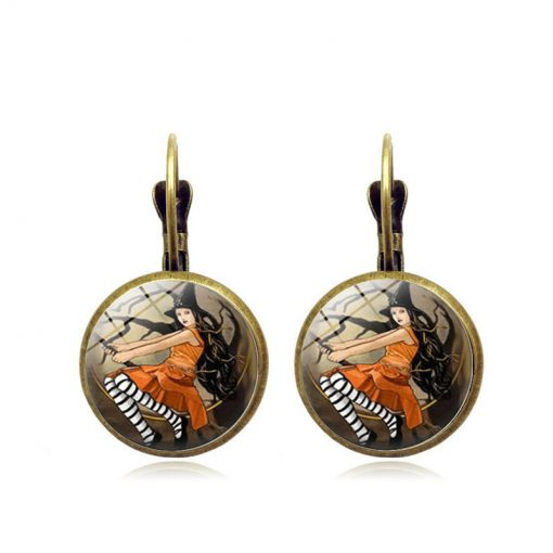 Halloween Time Gem Witch Vintage Bronze Earring YFT-156