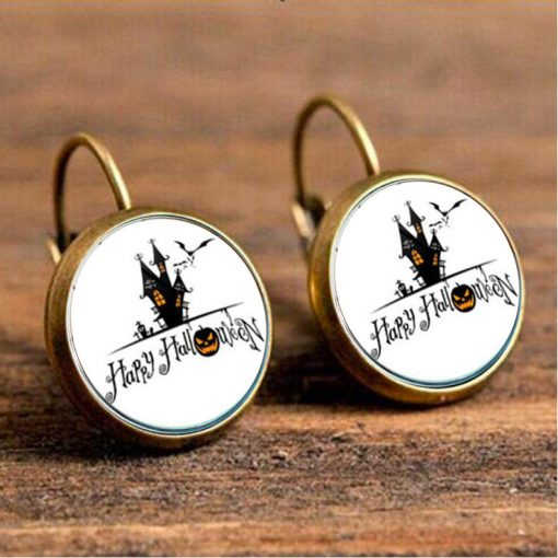 Halloween Time Gem Witches Vintage Bronze Night Cry Earrings YFT-154