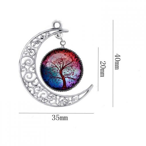 Hot sale hollow moon necklace time gem life tree pendant color sweater chain jewelry gift mixed batch YFT-137