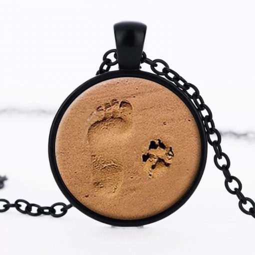 Beach small ankle pendant sweater chain Retro dog footprints time gemstone necklace YFT-141