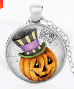 Halloween DIY Pumpkin Time Gemstone Necklace Pendant silver Mixed batch   YFT-146
