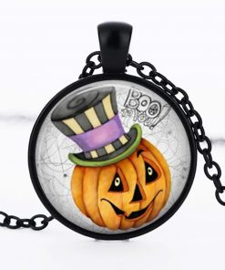 Halloween DIY Pumpkin Time Gemstone  Necklace Pendant black Mixed batch   YFT-147