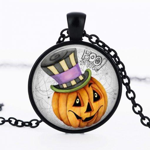 Halloween DIY Pumpkin Time Gemstone  Necklace Pendant black Mixed batch   YFT-147
