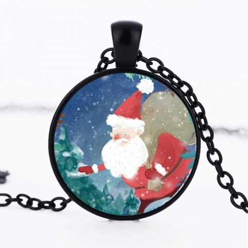 Children's jewelry gift Europe and America hot Santa Claus time gemstone necklace pendant sweater chain Mixed batch YFT-140