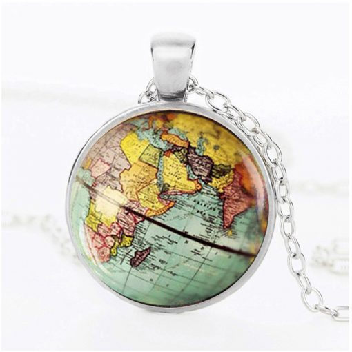 Vintage Earth Pendant Map Time Gem Necklace Mixed Batch yft-136