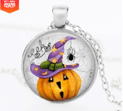Halloween DIY Pumpkin Time Gemstone Necklace Pendant silver Mixed batch   YFT-146
