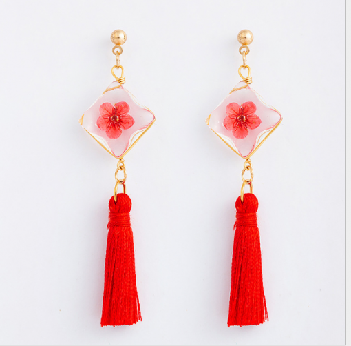 Square fringed daffodil earrings Sen female series fringed dried flower earrings YFT-156
