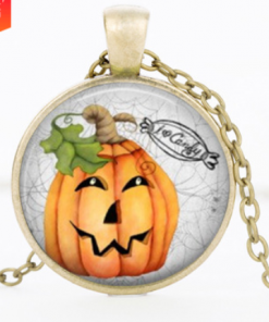 Halloween DIY Pumpkin Time Gemstone Necklace Pendant Bronze Mixed Batch YFT-148