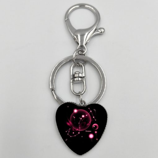 New 12 Constellation Heart Keychain Jewelry Accessories Bag Pendant YFT-157
