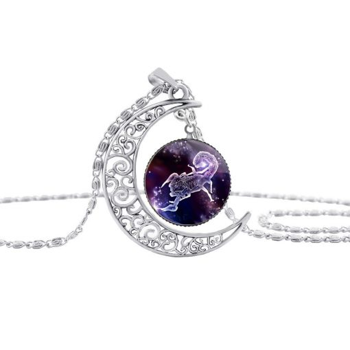 New Starry Animals 12 Constellation Moon Necklace Time Gemstone Pendant YFT-138