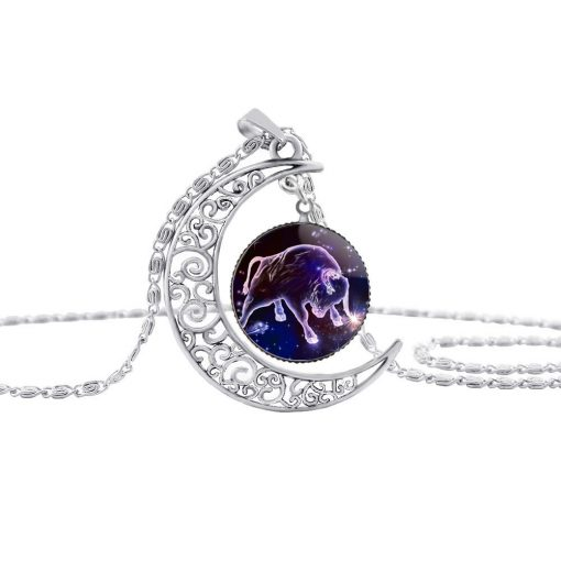 New Starry Animals 12 Constellation Moon Necklace Time Gemstone Pendant YFT-138