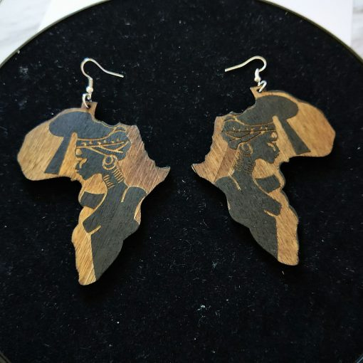 African series hot sale carved flower-shaped wooden woman earrings SZAX-161