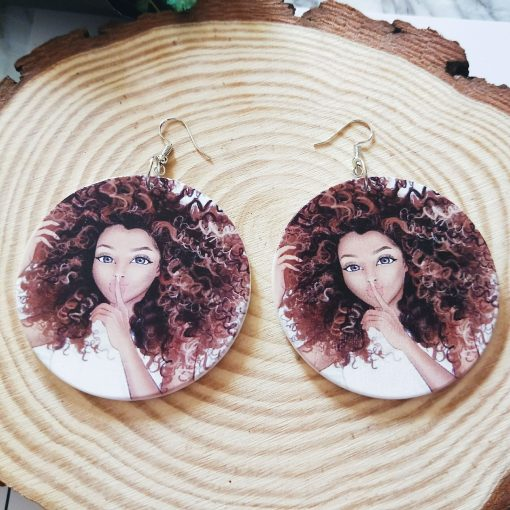 Exaggerated African head pattern geometric round wooden earrings SZAX-159