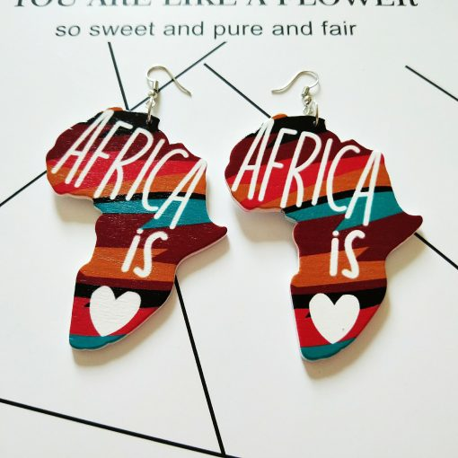 European and American popular geometric map Stylish wooden round earrings Mixed batch SHAX-165