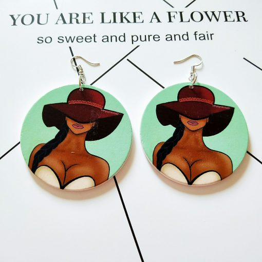 Exaggerated African head pattern geometric round wooden earrings SZ-AZX164