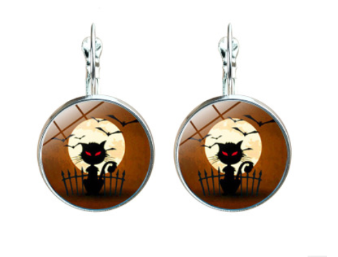 Halloween Time Gem Witch Vintage Bronze Night Cry Earrings YFT-155
