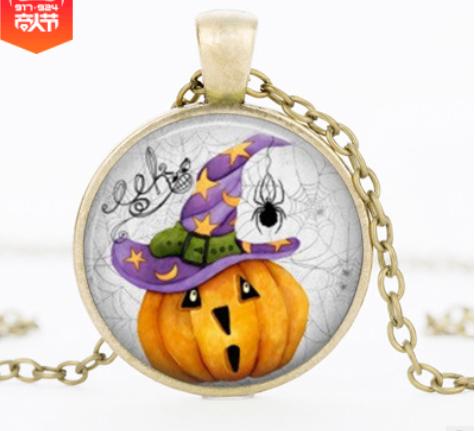 Halloween DIY Pumpkin Time Gemstone Necklace Pendant Bronze Mixed Batch YFT-148