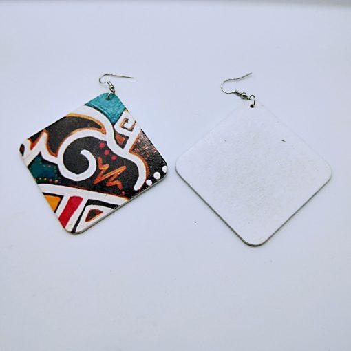 Popular geometric abstract pattern fashion ultra light wood earrings SZAX-256