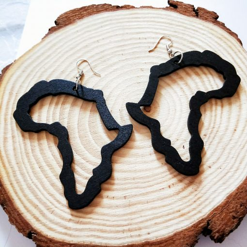Europe and the United States popular Africa map fashion ultra-light wood earrings SZAX-259