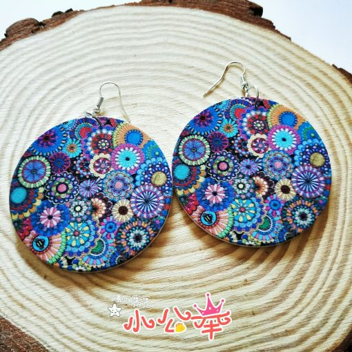 Popular new small floral henna painted wooden earrings SZAX-216