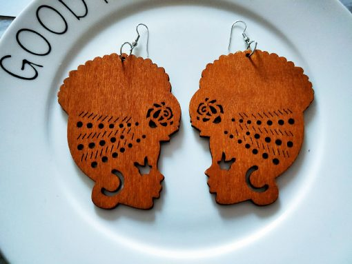 African vintage wooden geometric printing temperament personality exaggerated national style earrings SHAX-167