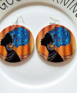 Popular African portrait round fashion wood earrings SZAX-244