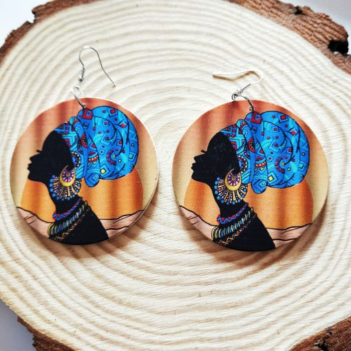 Popular African portrait round fashion wood earrings SZAX-244