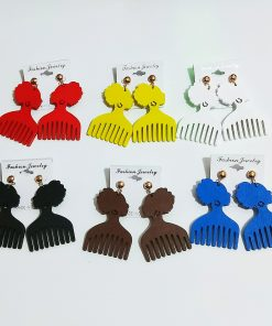 Women's popular new color comb wooden earrings Mixed batch SZAX-218