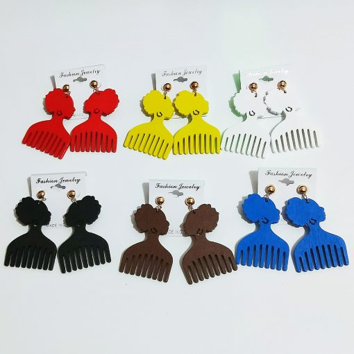Women's popular new color comb wooden earrings Mixed batch SZAX-218
