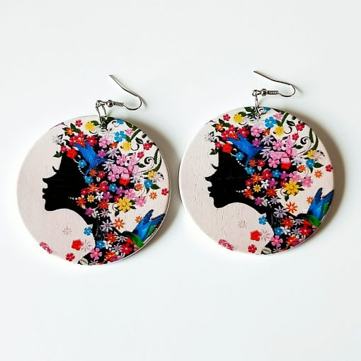Europe and America Africa retro round printed personality wooden earrings SZAX-180
